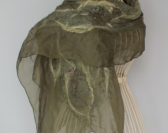 Silk Nunofelt Shawl, Nunofelted scarf, Nunofelt Shawl, OOAK Nunofelt Shawl