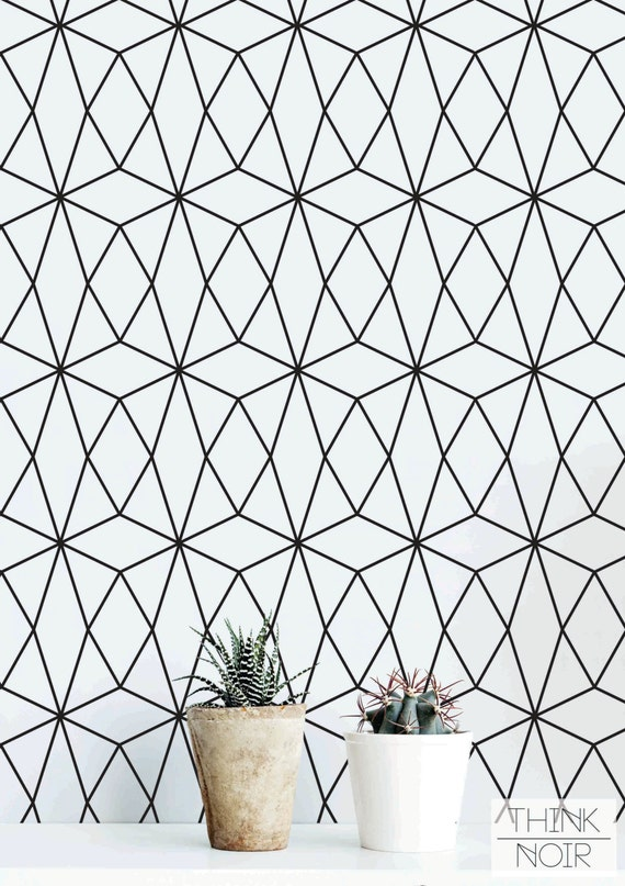 Geometric pattern self adhesive wallpaper black and by for Object pool design pattern