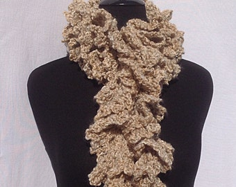 Curly Boa Scarf in Light Brown