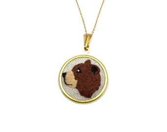 Brown Bear Embroidered Animal Necklace Embroidery Pendant Needlework Woodland Bear Nature Jewelry
