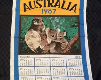 1987 Australia Calendar Tea Towel