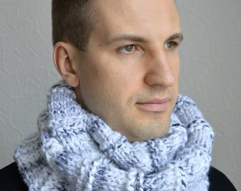 Hand knitted men's scarf