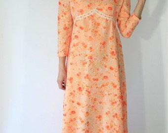 Orange Long Sleeve Floral Maxi Dress