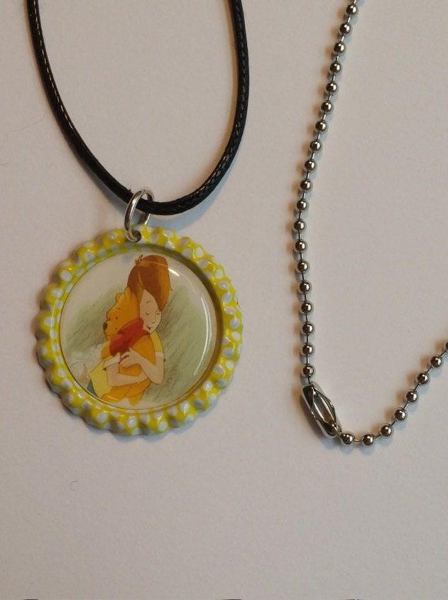 winnie the pooh finished bottle cap necklace