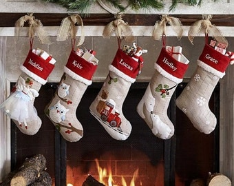 Personalized large Flax monogrammed christmas stockings holidays Decoration stockings-gift collection bag christmas ornaments-12styles