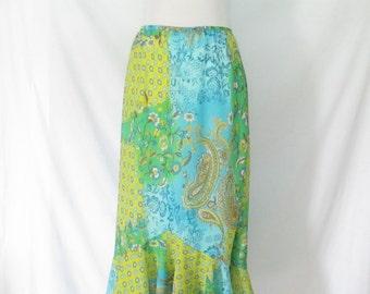 90's Floral Ruffle Maxi Skirt Paisley Floral Sheer Skirt Boho Skirt 90's Hippie Skirt Blue Green Long Ruffled Skirt