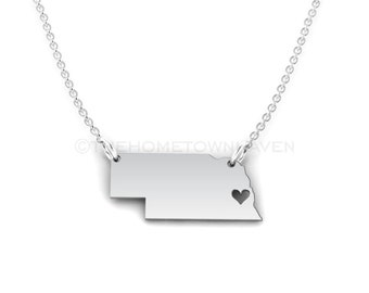 Nebraska State Necklace, I Love Nebraska necklace, Nebraska necklace