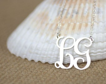 2 Initial Monogram Necklace - Sterling silver monogram, personalized jewelry, custom monogram necklace