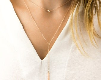 14K Rose Gold Necklace, Simple Rose Gold Necklace, Dainty Rose Gold Necklace, Delicate Gold Necklace Minimalist Necklace Ball Necklace Gift