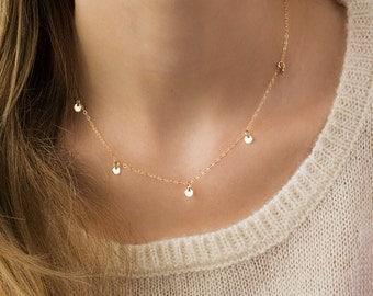Gold Discs Necklace, mini discs necklace, 14k gold filled necklace gold coins necklace delicate coins necklace layered disc necklace minimal