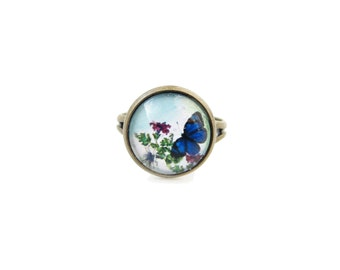 Butterfly small adjustable ring, animal insect theme, 12mm glass dome photo cabochon, bezel ring, statement ring