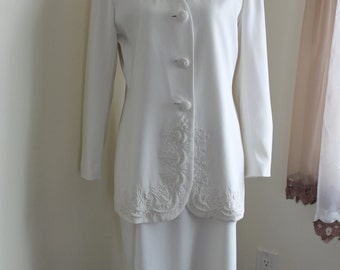 White Formal Suit, Beaded Evening Wear, St Anthony Evening Wear,  Size 10 Formal Skirt Jacket Set