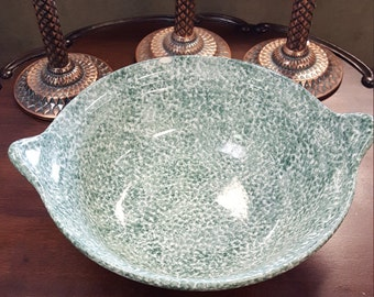 Laurie Gates Los Angeles Vintage Stoneware Pottery Green Two Handle Bowl