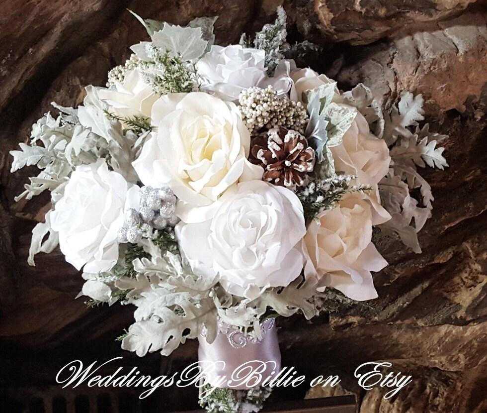 Winter Bouquet: Winter Wedding Bouquet Silver White Ivory Pine Cones Hand