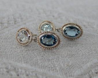 London Blue Topaz Earrings, London Blue Topaz & Cubic Zirconia Earrings, Blue Topaz and CZ Stud Earrings, London Blue Topaz Post Earrings