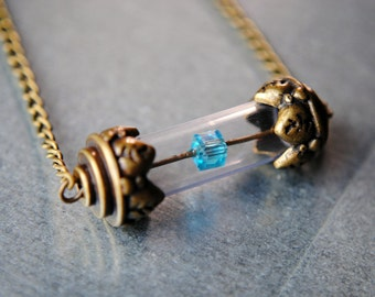 BRONZE Tesseract Necklace -- Infinity Stone Collection - The Avengers Inspired - LOKI - Unlimited Power - Avengers Jewelry