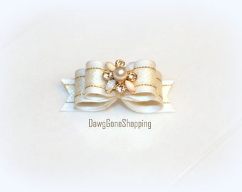5/8 - White and Gold Double Dog Bow with Pearl and Crystal Flower Embellishment