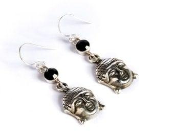 Buddha Sterling Silver Earrings With Black Onyx Gemstone Yoga Jewellery Yogi Jewelry Free UK Delivery Gift Boxed