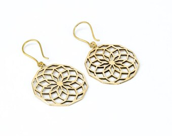 Sacred Geometry Brass Earrings handmade,Yoga Earrings with hooks, Nickel Free, Yoga Jewellery, Gift boxed,Free UK post BG11