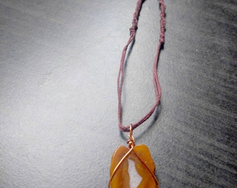 Agate Slice Necklace Wrapped in Copper