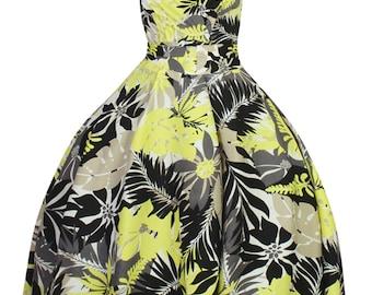 Sarah-P yellow black vintage 50's retro rockabilly swing dress