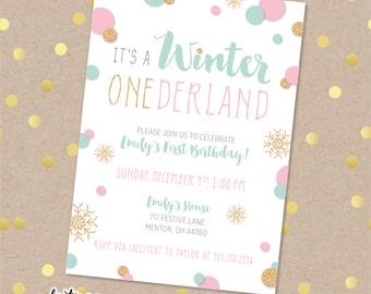 Winter Onederland Birthday Invitation | First Birthday Party Invitation