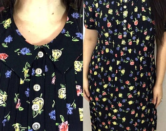 SALE - Vintage 90's floral maxi dress - peter pan collared grunge zip up pastel floral summer dress