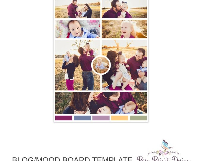 Blog Board & Mood Board - Collage Template - 8.5x11 - Social Media Collage Template - Digital Storyboard - Instant Download - BMB02