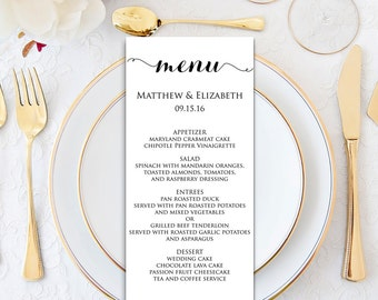 wedding menu wedding menu template menu cards menu printable formal wedding