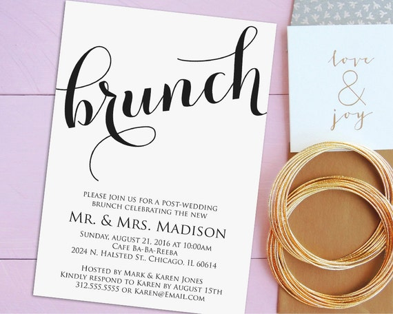 Day After Wedding Brunch Invitation: Newlywed Brunch Invitation Printable Post-Wedding By