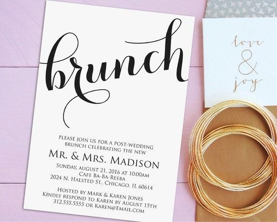 Post Wedding Brunch Invitation Wording: Newlywed Brunch Invitation Printable Post-Wedding By