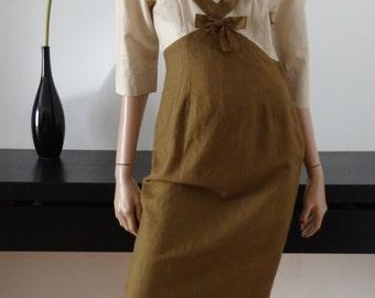 Robe LAURA ASHLEY beige/marron taille 36 / size uk 8 / us 4