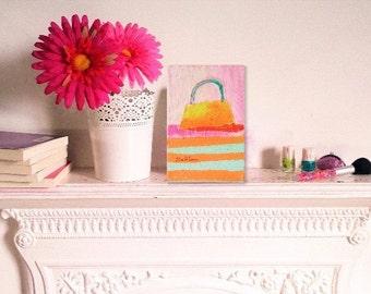 small handbag painting, yellow handbag painting, handbag painting,  small painting, teenage girls painting, girls painting, girls room art