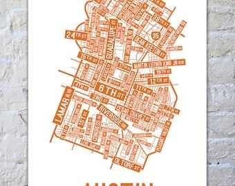 Austin, Texas Street Map Poster