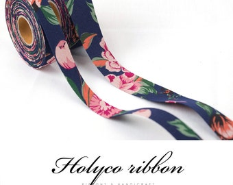 "Watercolor Flower Patterns Folding Fabric Ribbon / 1""(25mm),1.5""(40mm) / 100% Cotton Ribbon tape / made in korea"