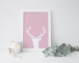Oh deer - wall art deco , Printable art , Instant download , pink , blue