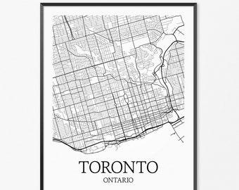 Toronto Map Art Print, Toronto Poster Map of Toronto Decor, Toronto City Map Art, Toronto Gift, Toronto Canada Art Poster