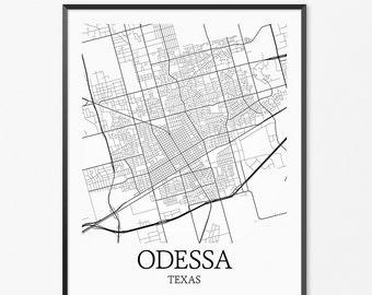 Odessa Map Art Print, Odessa Poster Map of Odessa Decor, Odessa City Map Art, Odessa Gift, Odessa Texas Art Poster