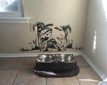 English Bulldog Decal English Bulldog Sticker Dog Sticker Dog Decal Lazy Dog Sleeping Dog Cute Puppy  Wall Art Stickers   tr259