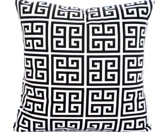 Black White Throw Pillow Covers, Cushions, Couch Pillows, Decorative Pillow, Greek Key,Towers, Bed Euro Sham, Throw, One or More All Sizes