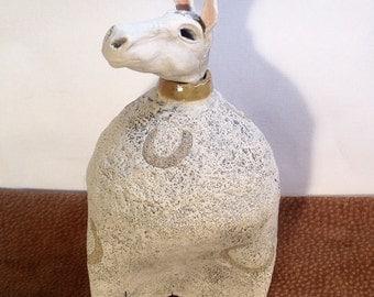 Horse,pony,animal,farm,folk art,signed,clay,ceramic,hand made,sculpture,pottery