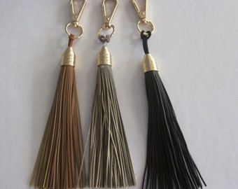 Genuine Leather Tassel Keychain - Gray