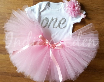 1st Birthday tutu one baby pink personalised white silver set photo prop cake smash