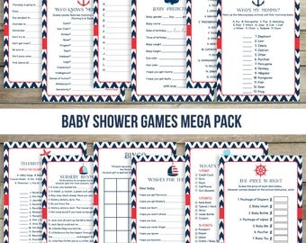 12 Nautical Baby Shower , Nautical Baby Shower Games , Package , Bingo , Wishes , Advice , Price Is Right , Celebrity Names and More!