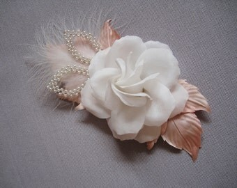 "Silk flower brooch ""Rose"""