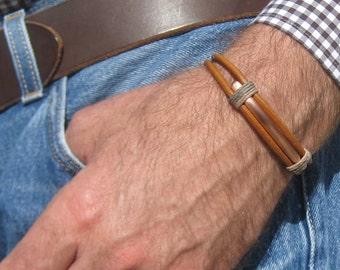 Copper and Leather Tied Bracelet
