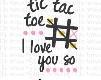 Tic tac toe SVG, DXF, EPS, png Files for Cutting Machines Cameo or Cricut // Valentines day girl svg // valentines day svg