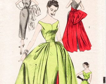 1950s 1960s vintage ball gown wiggle sheath dress & overskirt sewing pattern Mad Men evening formal bridal bust 34 b34 repro