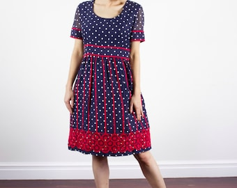 Vintage 1960s Navy Polka Dot Dress / CARLYE / Red Embroidery /Bell Skirt / Sheer Sleeves / S/M