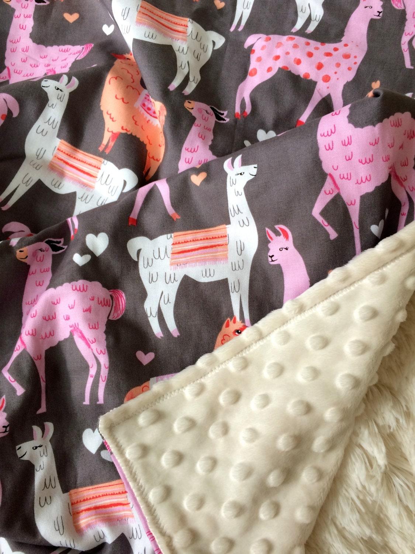 Girl Minky Blanket Llama Blanket Girl Baby Blanket Llama